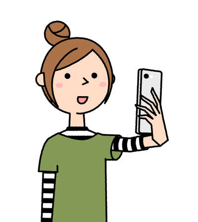 It is an illustration of a young woman taking a selfie.