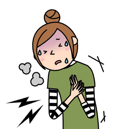 It is an illustration of a young woman who has a pain in her chest.