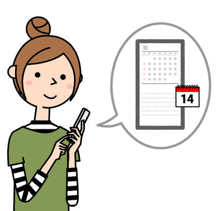 It is an illustration of a young woman operating a smartphone. I'm looking at the calendar. 向量圖像