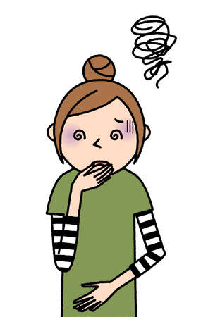It is an illustration of a young woman who feels nausea.