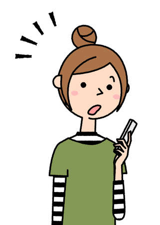 It is an illustration of a young woman who is surprised to see a smartphone. 向量圖像