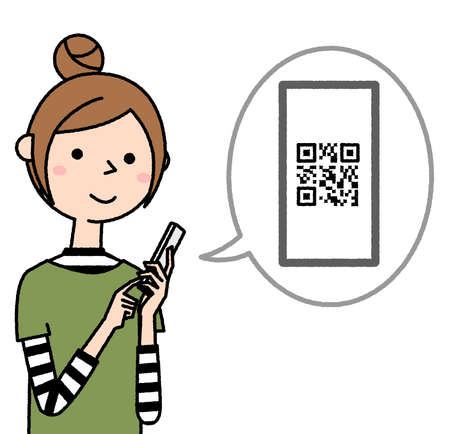 It is an illustration of a young woman operating a smartphone. I'm looking at the QR code. 向量圖像