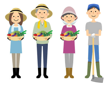 It is an illustration of farmers who have harvests. 向量圖像