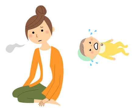 Illustration of a crying baby and a young woman sighing.
