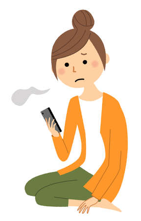 This is an illustration of a young woman sighing while looking at her smartphone.