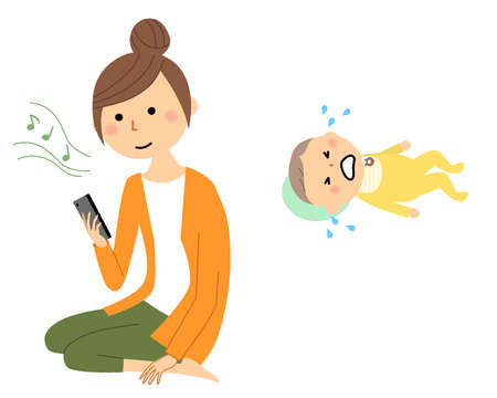 It is an illustration of a young woman who abandons childcare and looks at a smartphone.