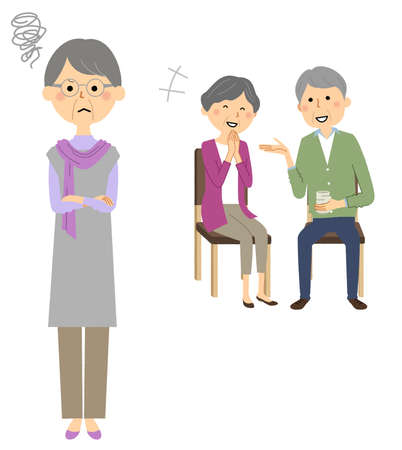 It is an illustration of a person who isn't happy seeing an elderly couple chatting. 向量圖像