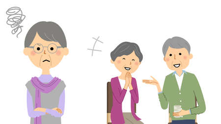It is an illustration of a person who burns a chewy feeling to an elderly couple chatting.