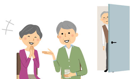 It is an illustration of an old man peeking into an elderly couple chatting.