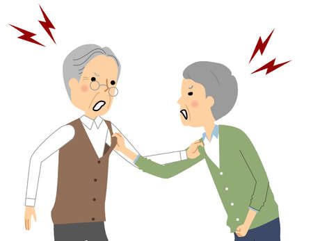 It is an illustration of elderly people yelling at each other.