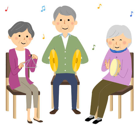 It is an illustration of elderly people playing in a recreation.