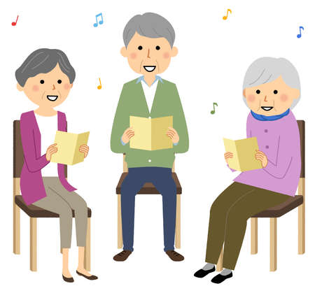 It is an illustration of elderly people singing in a recreation. 向量圖像