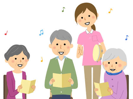It is an illustration of elderly people singing in a recreation and a care staff who takes a rhythm with a tambourine.