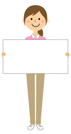 It is an illustration of a care staff with a whiteboard.
