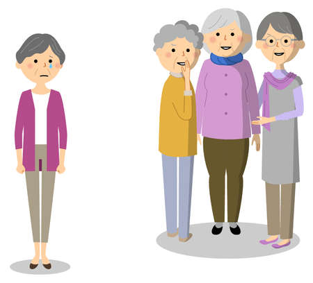 It is an illustration of an elderly person who is out of the group.
