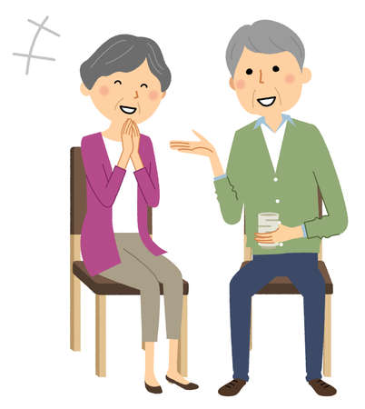 It is an illustration of an elderly couple chatting.