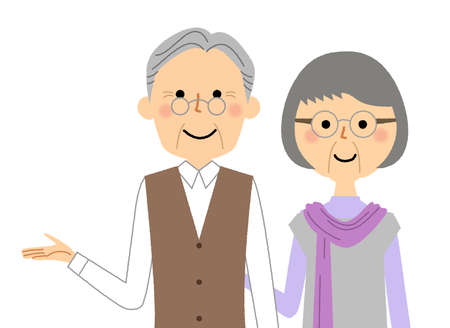 It is an illustration of an elderly couple to explain. Vettoriali
