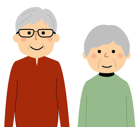 It is an illustration of a happy elderly couple.