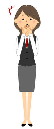 It is an illustration of a surprised woman in a  uniform.