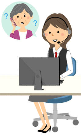 It is an illustration of a woman talking to a customer at a call center.