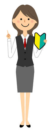 It is an illustration of a woman in uniform with a beginner mark.