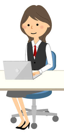 It is an illustration of a woman in uniform who operates a PC.