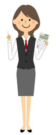 It is an illustration of a woman in uniform holding a calculator. Vettoriali