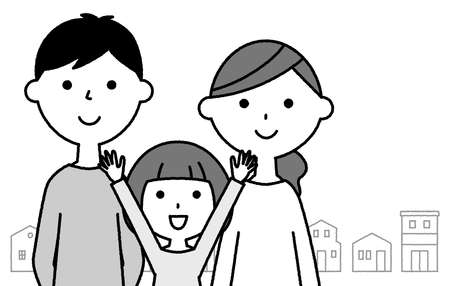 It is an illustration of a family of three who are close
