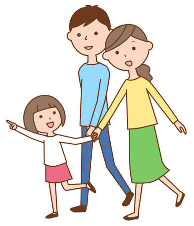 It is an illustration of a family of three taking a walk.
