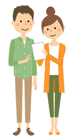 Illustration of a young couple looking at a tablet.