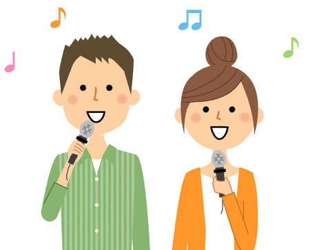 It is an illustration of a young couple singing.