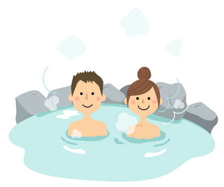 It is an illustration of a young couple entering a hot spring.