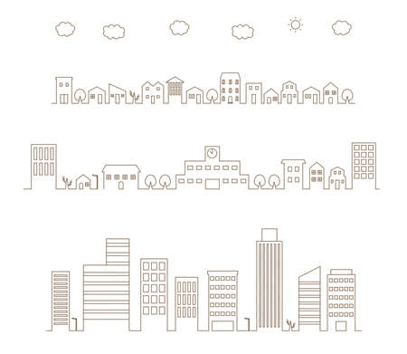 It is a cityscape illustration of a residential area and a group of buildings.