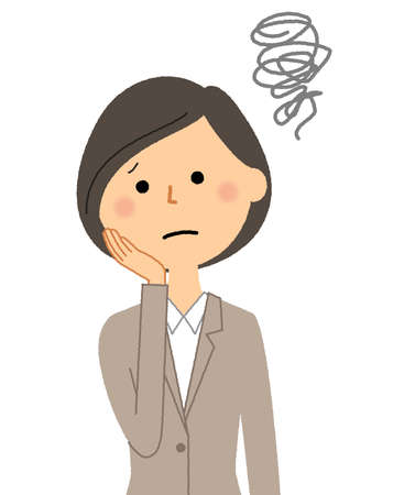 It is an illustration of a woman in a troubled suit.