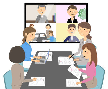 Illustration of a video conference.