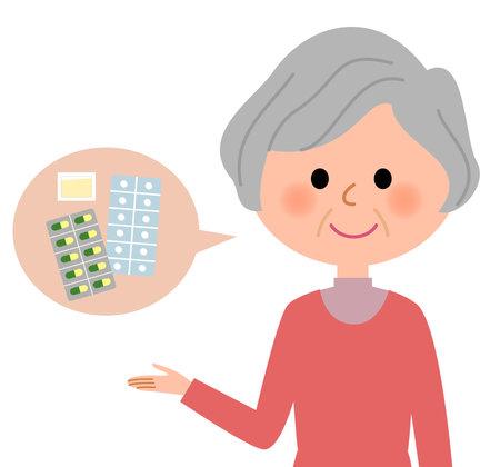 It is an illustration of elderly woman prescribed medicine.