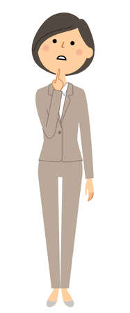 It is an illustration of a woman in a thinking suit.