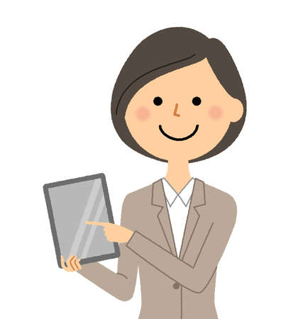 Illustration of a woman in a suit holding a tablet. Vektoros illusztráció