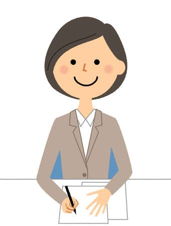 It is an illustration of a woman in a suit to fill out a document.