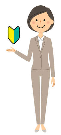 It is an illustration of a woman in a suit to propose. We are proposing to beginners.