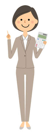 It is an illustration of a woman in a suit holding a calculator.