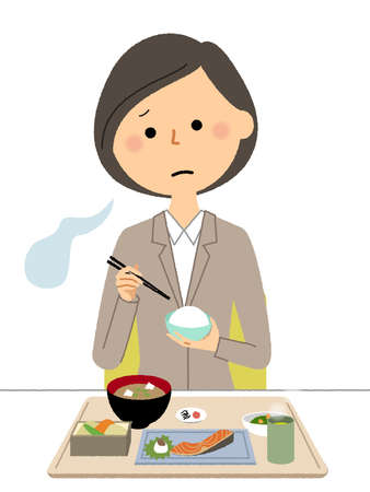 It is an illustration of a woman in a suit with anorexia.