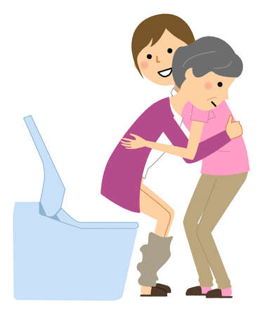 It is an illustration of an elderly woman who receives excretion assistance from a care staff.