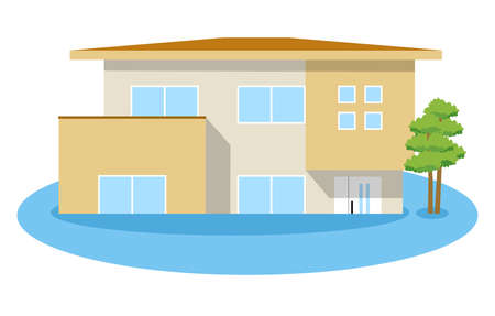 This is an illustration of a flooded house.
