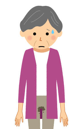 It is an illustration of an elderly woman who has incontinence.