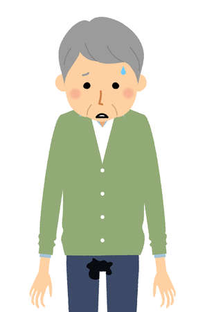 It is an illustration of an elderly man who has incontinence.