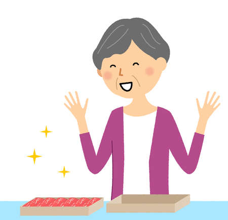 It is an illustration of an elderly woman who is pleased with the return of her hometown tax payment.