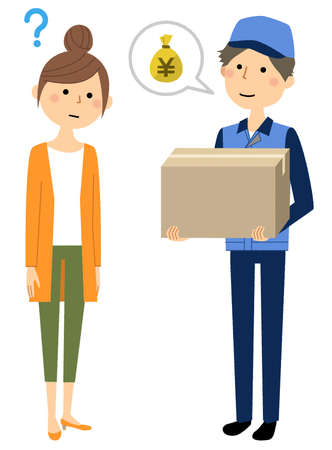 Illustration of a deliveryman and a young woman. Stock Illustratie