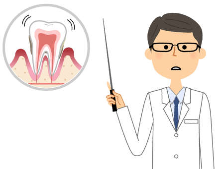 It is an illustration of a doctor explaining periodontal disease.