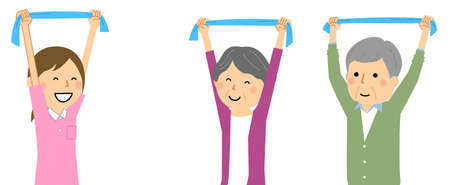 It is an illustration of an elderly person doing stretching exercises with a towel.